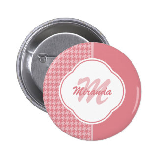 Girly Light Pink Houndstooth Monogram With Name 2 Inch Round Button