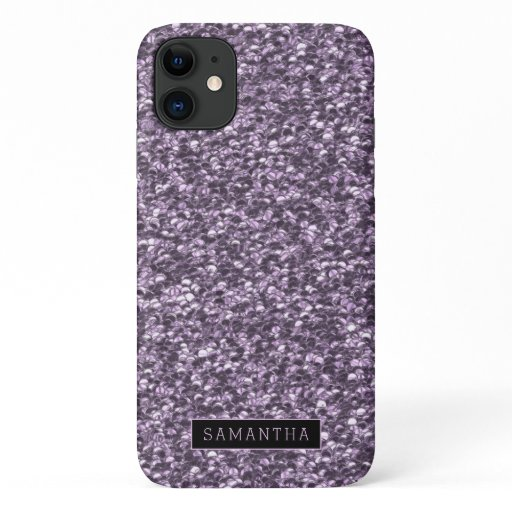 Girly Lilac Sparkle Sequins Monogram iPhone 11 Case