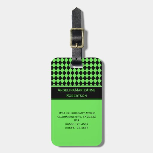 Girly Lime Green Black Argyle Diamond Pattern Tags Tag For Luggage