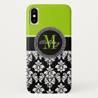 Girly Lime Green Black Damask Pattern Monogram iPhone X Case
