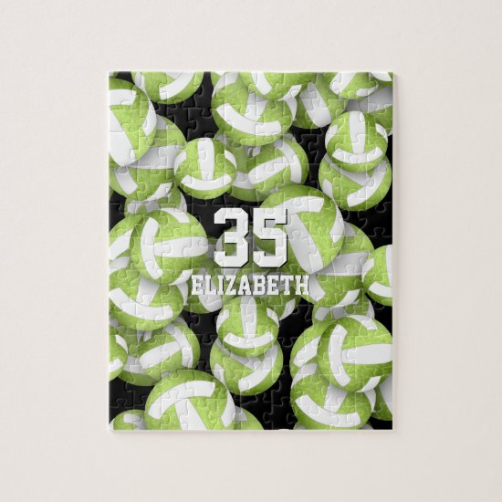 Girly lime green white volleyballs pattern jigsaw puzzle