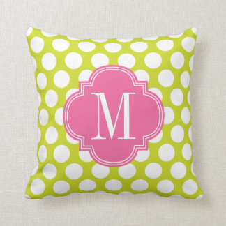 Girly Lime & Pink Big Dots Monogrammed Throw Pillow