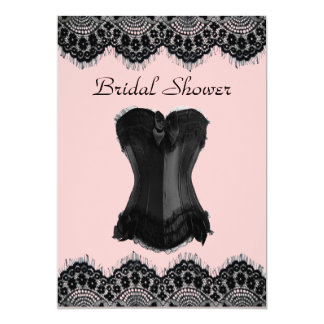 Girly Lingerie party vintage corset bridal shower Card