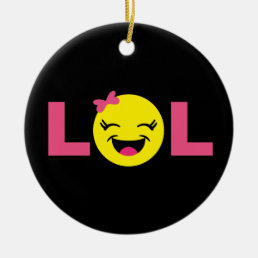 Girly LOL Emoji Ceramic Ornament