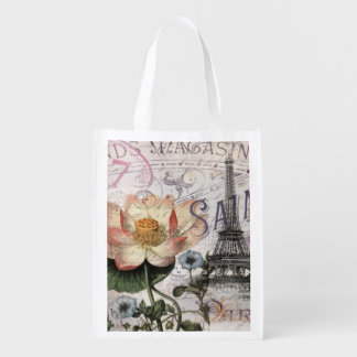 girly lotus flower vintage paris eiffel tower grocery bag
