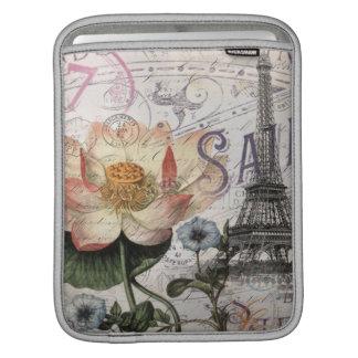 girly lotus flower vintage paris eiffel tower iPad sleeve