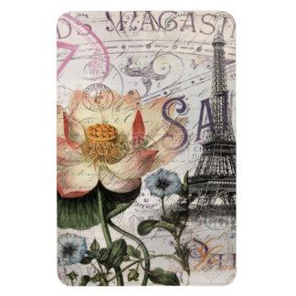 girly lotus flower vintage paris eiffel tower magnet