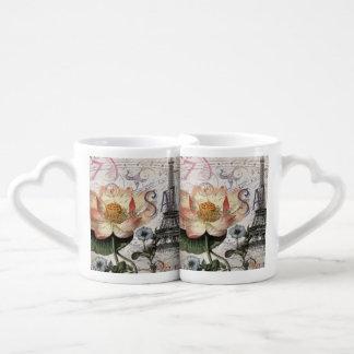 girly lotus flower vintage paris eiffel tower couples' coffee mug set