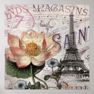 girly lotus flower vintage paris eiffel tower poster