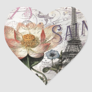 girly lotus flower vintage paris eiffel tower heart sticker