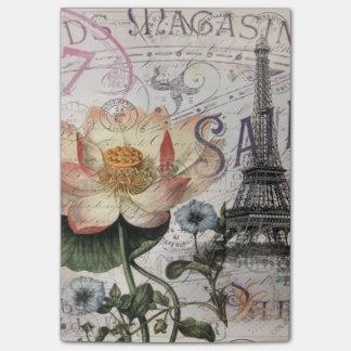 girly lotus flower vintage paris eiffel tower post-it® notes