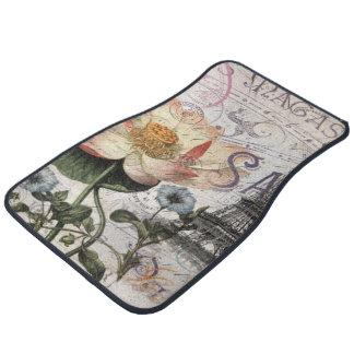 girly lotus flower vintage paris eiffel tower floor mat