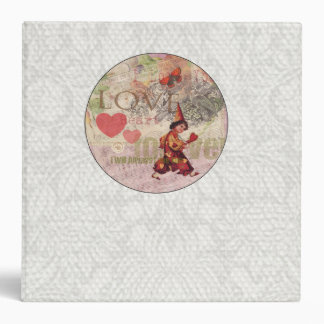Girly Love Heart Vintage Sweetheart Collage 3 Ring Binder
