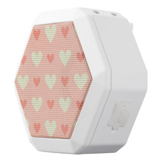Girly Love Hearts - Elegant and Chic Pattern White Bluetooth Speaker