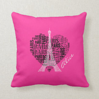 Girly Love Paris | Pink Background Throw Pillow