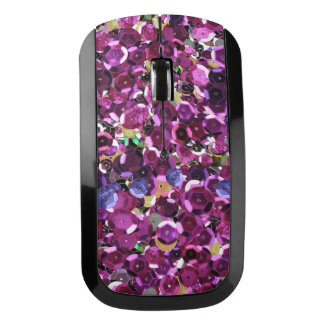 Girly Magenta Pink Faux Sequins Wireless Mouse