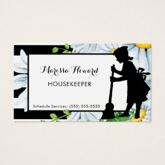Girly Maid Stripes and Daisy Floral Housekeeper Business Card