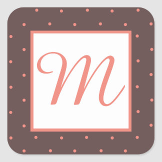 Girly Maroon and Coral Polka Dot Monogram Stickers