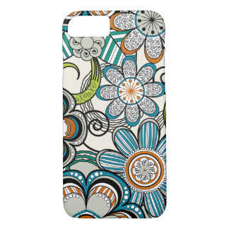 Girly Mehndi Floral Design, Teal iPhone 7 Case