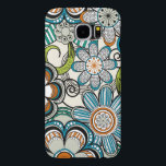 "Girly Mehndi Floral Design, Teal Samsung Galaxy S6 Case<br><div class=""desc"">Stylish monogram floral design. Perfect for back to school accessory! Makes an awesome gift for her.</div>"