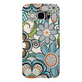 Girly Mehndi Floral Design, Teal Samsung Galaxy S6 Case