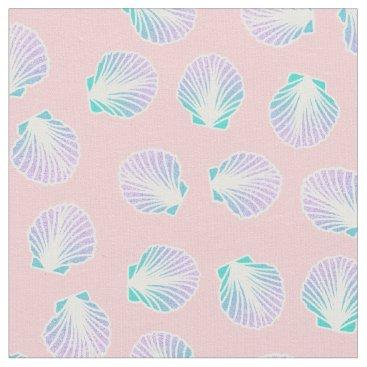 Beach Themed Girly mermaid hand drawn sea shell pink fabric