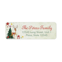 Girly Merry Christmas Reindeer - Address Labels
