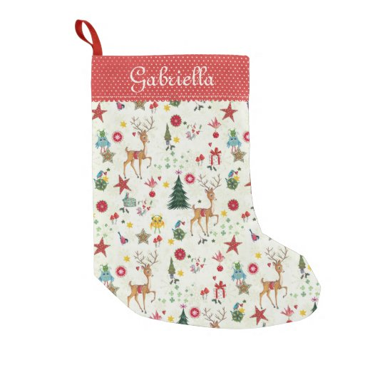 Girly Merry Christmas Reindeer Christmas Stocking Small Christmas Stocking