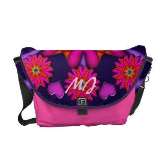 Girly Messenger bag Hearts flowers Monogram