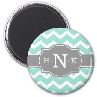Girly Mint Chevron Grey Monogram Magnet