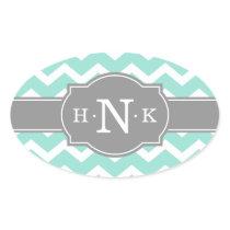 Girly Mint Chevron Grey Monogram Oval Sticker