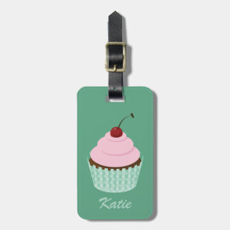 Girly Mint Chocolate Cupcake Pink Cherry Frosting Luggage Tag