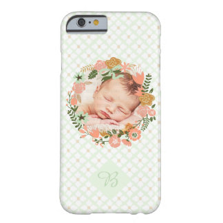 Girly Mint Floral Wreath Photo Personalized Barely There iPhone 6 Case