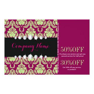 "girly Mint fuschia Damask beauty salon fashion 5.5"" X 8.5"" Flyer"