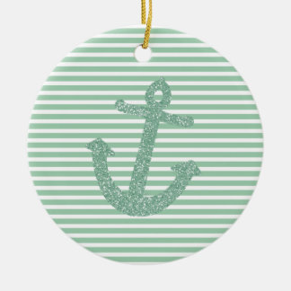 Girly Mint Glitter Anchor Ceramic Ornament