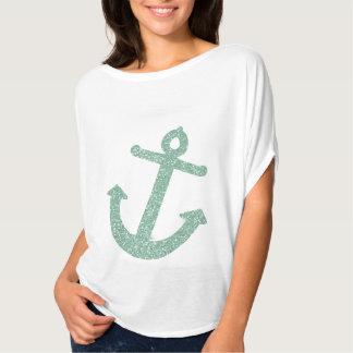 Girly Mint Glitter Anchor T-shirt