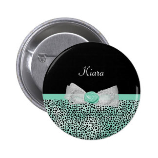 Girly Mint Green Cheetah Print Cute Bow and Name 2 Inch Round Button