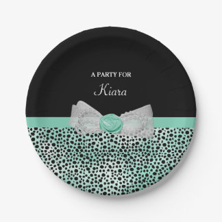 Girly Mint Green Cheetah Print Cute Bow Party Name Paper Plate