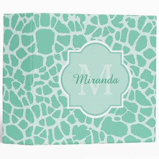 Girly Mint Green Giraffe Print Monogram and Name 3 Ring Binder