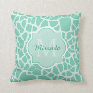 Girly Mint Green Giraffe Print Monogram and Name Throw Pillow