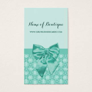 Girly Mint Green Lace Pattern Feminine Ribbon Business Card