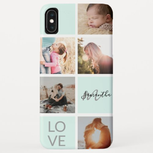 girly mint green monogram love photo collage grid Phone Case