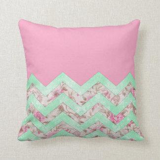Girly Mint Green Pink Floral Block Chevron Pattern Throw Pillow