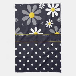 Girly Mod Daisies and Polka Dots Hand Towel