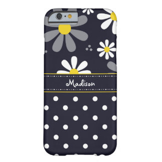 Girly Mod Daisies and Polka Dots With Name Barely There iPhone 6 Case