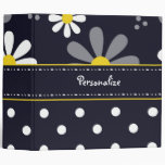 Girly Mod Daisies and Polka Dots With Name Binder