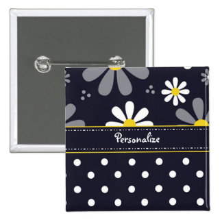 Girly Mod Daisies and Polka Dots With Name 2 Inch Square Button