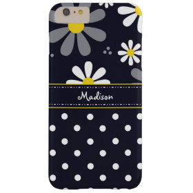 Girly Mod Daisies and Polka Dots With Name Barely There iPhone 6 Plus Case