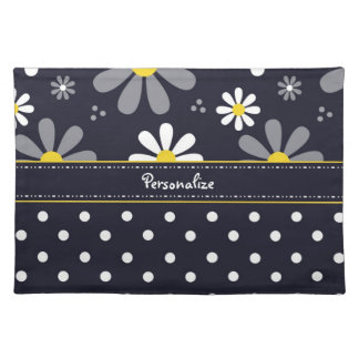 Girly Mod Daisies and Polka Dots With Name Cloth Place Mat