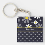 Girly Mod Daisies and Polka Dots With Name Double-Sided Square Acrylic Keychain